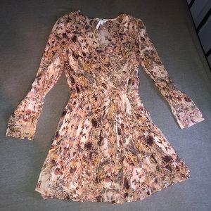 BCBG Printed Chiffon Pleated Long Sleeve Dress